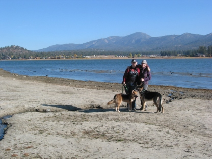 Dogs (also Felicia and Alex) Enjoying Big Bear Lake