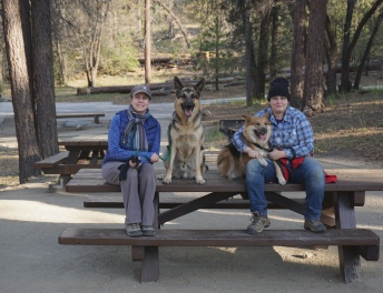 Alex, Felicia and dogs at a group campground on the Rio Monte Trail