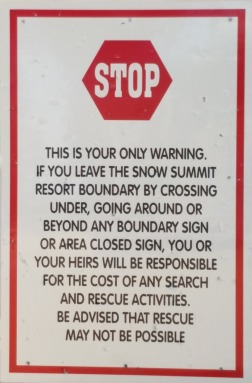 Warning sign for hikers at Snow Summit
